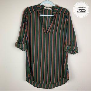 Liberty Love Olive Green Striped V-neck Tunic Size